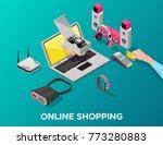 isometric gadgets online... | Shutterstock .eps vector #773280883
