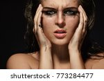 sad and beautiful woman with...   Shutterstock . vector #773284477