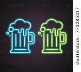 beer glasses neon light glowing ... | Shutterstock .eps vector #773285317