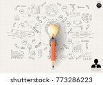 pencil lamp orange   ... | Shutterstock .eps vector #773286223