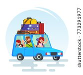 happy couple car trip father ... | Shutterstock .eps vector #773291977