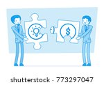 idea and money puzzle. young... | Shutterstock .eps vector #773297047