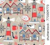 doodle illustration. north sea....   Shutterstock . vector #773309773