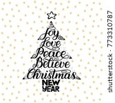 joy  love  peace  believe ... | Shutterstock .eps vector #773310787