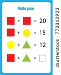 maths game with pictures ... | Shutterstock .eps vector #773312923
