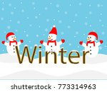 three snowman playing around   Shutterstock .eps vector #773314963