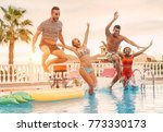 group of happy friends drinking ... | Shutterstock . vector #773330173