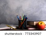 group of school supplies and... | Shutterstock . vector #773343907