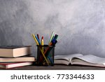 group of school supplies and... | Shutterstock . vector #773344633