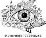 black and white picture of an... | Shutterstock . vector #773348263