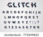 vector distorted glitch font.... | Shutterstock .eps vector #773349823