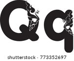 swirl doodle alphabet letter q...   Shutterstock .eps vector #773352697