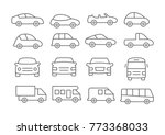 car line icons on white... | Shutterstock .eps vector #773368033