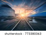 railway station with motion... | Shutterstock . vector #773380363