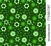 Green Floral Seamless Pattern ...