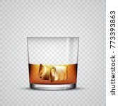 a glass of whiskey with ice ... | Shutterstock .eps vector #773393863