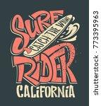 surf rider print. t shirt... | Shutterstock .eps vector #773395963