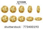 bitcoin 3d gold coins vector... | Shutterstock .eps vector #773400193
