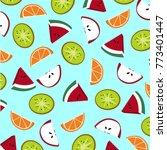 fruit slices pattern. kiwi ...   Shutterstock .eps vector #773401447
