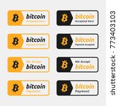 bitcoin accepted payment button.... | Shutterstock .eps vector #773403103