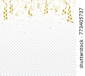 christmas golden confetti with... | Shutterstock .eps vector #773405737