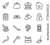 thin line icon set   rocket ... | Shutterstock .eps vector #773410513
