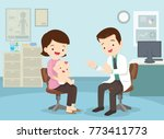 family to see doctor sitting at ... | Shutterstock .eps vector #773411773