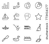 thin line icon set   graph ...