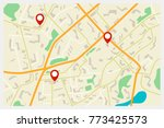 city map with red markers | Shutterstock . vector #773425573