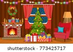 christmas interior of the... | Shutterstock .eps vector #773425717