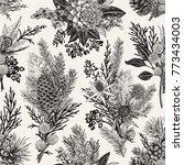 seamless floral pattern. winter ... | Shutterstock .eps vector #773434003