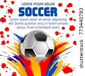 soccer ball with paint splash... | Shutterstock .eps vector #773440783
