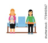 women sitting in waiting hall... | Shutterstock .eps vector #773443567