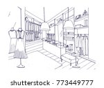outline drawing of fashionable... | Shutterstock .eps vector #773449777