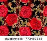 seamless pattern. golden...   Shutterstock . vector #773453863