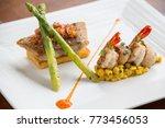 haute cuisine pan fried fish...   Shutterstock . vector #773456053