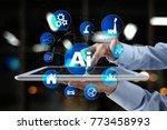 ai  artificial intelligence ... | Shutterstock . vector #773458993