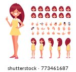 pretty girl in dress character... | Shutterstock .eps vector #773461687
