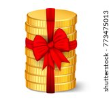 stack of coins with a red bow. | Shutterstock .eps vector #773475013