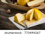 homemade sheep and cow's cheese ...   Shutterstock . vector #773494267