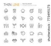 Collection of restaurant thin line icons | Shutterstock vector #773495173