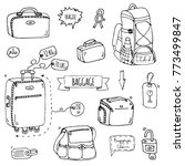 hand drawn doodle baggage icons ...   Shutterstock .eps vector #773499847