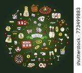hand drawn doodle set of casino ... | Shutterstock .eps vector #773499883
