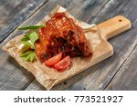 grilled pork ribs with sauce...   Shutterstock . vector #773521927