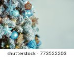 decorated christmas tree on...   Shutterstock . vector #773522203