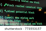 screen with crypto code  green... | Shutterstock . vector #773553157