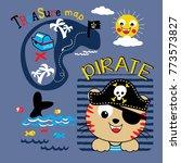 pirate animal cartoon vector | Shutterstock .eps vector #773573827