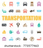 transportation icons set | Shutterstock .eps vector #773577463