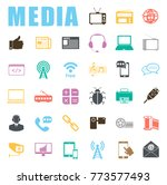 media icons set | Shutterstock .eps vector #773577493