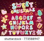 merry christmas sweet font.... | Shutterstock .eps vector #773588947